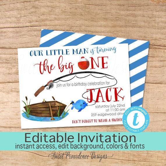Fishing Birthday Invitation Fish First Birthday Editable