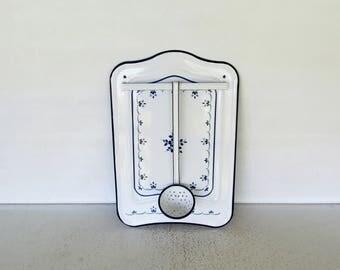 Enamel Utensil Hanger French Wall Rack Backsplash Vintage Blue and White Enamelware Towel Kitchen Ladle Strainer