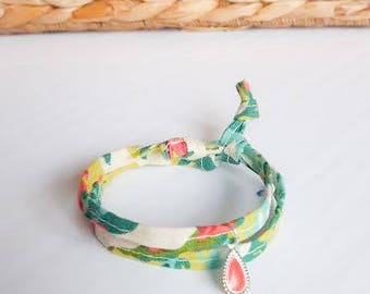 reclaimed floral fabric bracelet - blue, green with coral charm