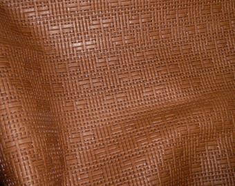 "Leather 12""x12"" Panama TOBACCO Basket WEAVE Embossed Cowhide 2-2.5 oz/ 0.8-1 mm PeggySueAlso™ E8000-15 Full hides available"
