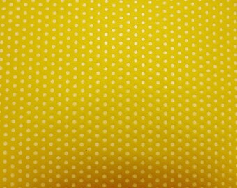 "Leather 12""x12"" Small WHITE Polka Dots on Yellow KING top grain Cowhide 2.5-3 oz / 1-1.2 mm PeggySueAlso™ E3090-50"