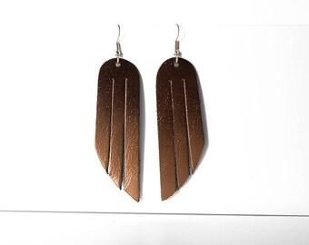 Leather Earrings / Fringe / Bronze Metallic