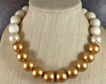 Statement Necklace, Wooden Necklace, Gumball Necklace, Gold, White, Chunky Necklace, Dot Necklace, Beaded Necklace, Polka Dot, Retro,