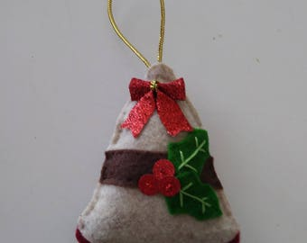 "Handmade Felt and Sequin BELL with HOLLY Ornament 4""hx 3 1/2""w"