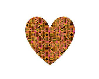 Adhesive Decal Kente Cloth Pink Serengeti Pattern Heart Sticker - Decal For Car, Decal For Yeti, Sticker For Yeti, Sticker For Car