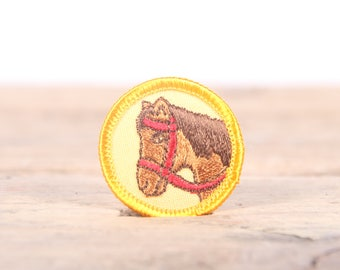 "Vintage Girl Scout Patch / 1970's-80's Scout Patch / Yellow Horse Animal Old Stock Scout Patch / 1.5"" Girl Scouts Patch / Scout Badge"