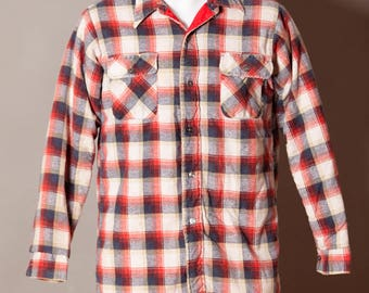 Vintage Men's Plaid Button Down Work Shirt - The Woodsman - quilted lining
