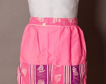 Vintage Bright Pink and Purple Sailboat Apron