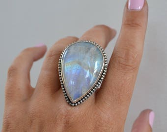 Rainbow Moonstone Silver Ring, Big Moonstone Ring, Pear Shaped Gemstone Statement Ring, OOAK Cocktail Ring, Sterling Silver Bezel Set Ring