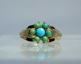 Antique 9k Gold Persian Turquoise Ring Size 6 Victorian Era Jewelry Green and Blue Turquoise DanPickedMinerals