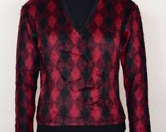 Vintage 1950's 60's Men's  Shaggy Argyle MOD Beatnik HiPsTeR Knit Sweater Shirt M 44