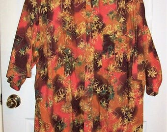 Vintage Mens Orange Tropical Print Hawaiian Shirt by Basic Options 2XL TALL Only 10 USD