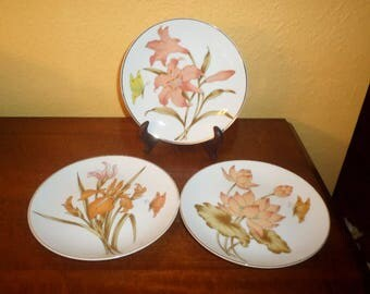 Toyo/Porcelain/Gold Trim/Bread Butter Plates/Set of Three/JAPAN/VINTAGE/LILLIES