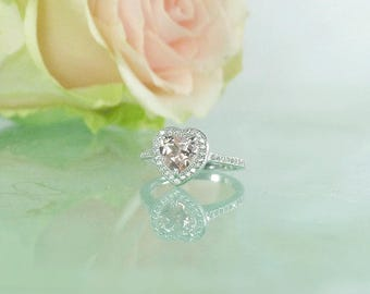 Morganite Ring, Morganite Engagement Ring, Morganite Statement Ring, Heart Shaped Ring, Pink Morganite Ring, Heart Ring, Morganite Rings