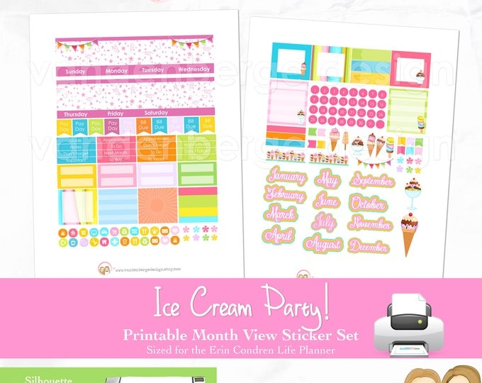 Printable MONTHLY VIEW, Monthly Stickers, Monthly Planner Kit - Ice Cream Party!