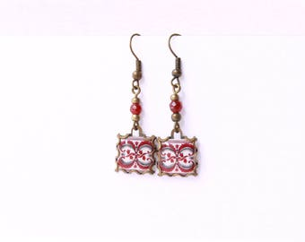 Porto. Vintage patterned earrings Tile earrings with art nouveau style  Red,  white  and grey tones.