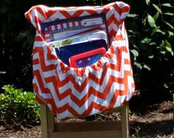 Tangerine ChEvRoN  // Chair Pockets // Teacher Classroom Storage // Seat Sacks  <<16 inch PREMIUM>> End of Year SALE CoffeeKidsNDolls