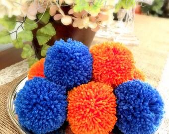 Pom Poms or Garland - Royal Blue- Orange College Colors- Football Team- Garland - Baby Nursery - Shower Garland  - Wedding - Photo Prop