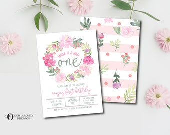 Watercolor Wild One First Birthday Invitation, Girl, Boho, Printable, Floral, Birthday Party Invitation, Pink Peonies, Purple