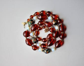 VIntage Retro Bold Asian Amber Chunky Lucite Bead Long Necklace