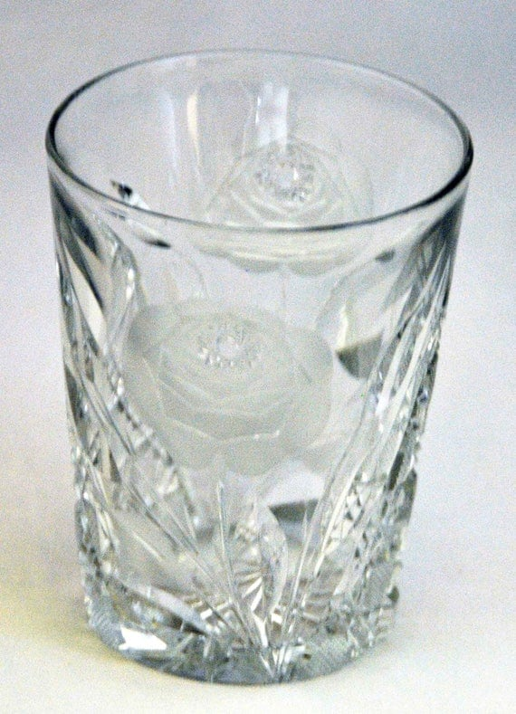 Scarce Antique C1900-1909 A B P Irving Cut Glass Co. 'WHITE ROSE No. 154' TUMBLER w/ 2 Images, Rare Intaglio, Cross Hatching, Exc. Condition