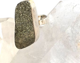 Golden Pyrite Druzy Ring-Sparkling Druzy RING -Sterling Silver Ring-size 7- on SALE!