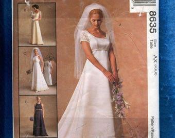 McCalls 8635 Classic Wedding Dress with Empire Waist Round Neckline &  Train Sizes  4..6..8