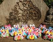 10 Textile Owls, Hand Made Fabric Owls. Owl Supply, Owl Charm,