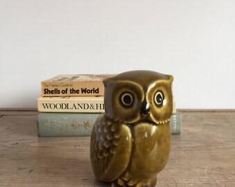 retro ceramic owl ornament // owl figurine // 1970s // olive green