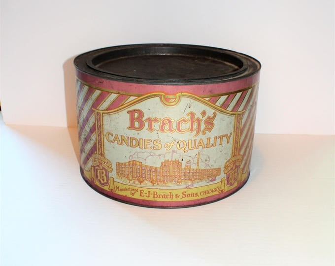 Brach's Candy Tin Large Vintage 1920s 12 Inch x 7.5 Inch