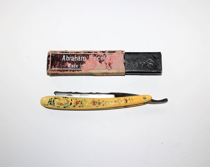 Antique Straight Razor Abraham Lincoln Memorial Made In Germany
