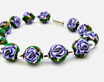 Purple bracelet, Rose bracelet, Purple rose bracelet, Handmade jewelry, unique Bracelet, clay bracelet, Gift for her, Christmas gift for her