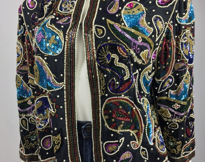 Vintage 1980's Frank Usher Beaded Sequin Silk Jacket - Embellished Evening Jacket - Paisley Pattern - Retro 80's - Small to Medium