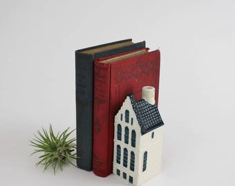 Vintage Hand Painted Dutch House - Ceramic Delft Blue Canal House for KLM by BOLS Royal Distilleries Holland