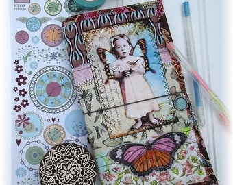 ON SALE OOAK Fauxdori, Fabric Collage Fauxdori, Scrappy Midori, Traveler's Notebook, Free Insert!