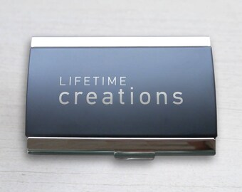 25 Custom Engraved Business Card Holders with Logo: Custom Business Card Case, Promotional Business Card Holder, Unique Employee Gift, Swag