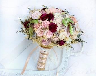 Burgundy Rose Wedding Bouquet // Dusty Rose, Pink, Peach, Grey, Bridal Bouquet, Sola Flower Bouquet, Dried Flower Bouquet, Bridal Flowers