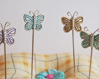 Silver Butterfly Sewing Pins, Decorative Butterfly Pins, Hand Painted Metal Butterfly Pins for Sewing, Quilting and Scrapbooking Set of 4
