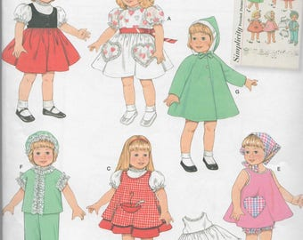 """Uncut Simplicity 16"""" to 18"""" Doll Clothes Sewing Pattern #2454"""