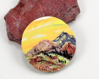 StudioStJames-Artisan Crafted Polymer Clay 34mm Focal Pendant or Cabochon-Mountainscape-Rustic Mountain Scene--Yellow Brown-PA 100794