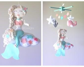 Baby Mobile - baby mobile mermaid - Under the Sea Mobile - Nursery mermaid
