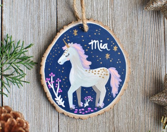 Fairytale Gift, Baby's First Christmas, Unicorn Ornament, Personalized Gift for Kids, 2017 Christmas Ornament, Unique Ornament, for Girls