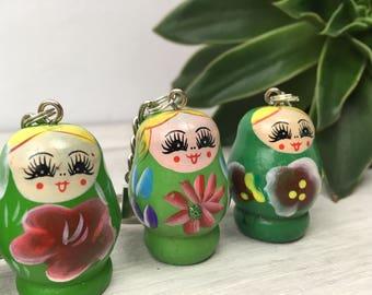 Green russian doll keyring, stocking filler gift, key rings for women, keychain for women, first car gift, new home gift, stocking stuffer