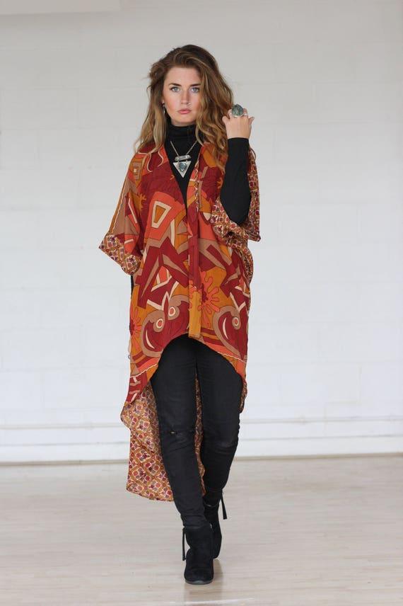 AZTEC PAISLEY KIMONO -Silk Cardigan- Cover Up- Bohemian Kimono- Christmas- Party Outfit- Kaftan- Waterfall kimono- Bespoke- 100% silk