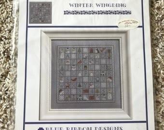 Winter Wingding, Blue Ribbon Design Cross Stitch Pattern