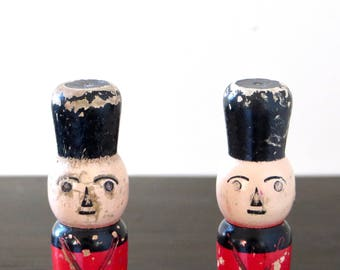 Vintage Toy Soldiers Pair of Skittles Wood Toy Bowling Pins Dowel Handpainted
