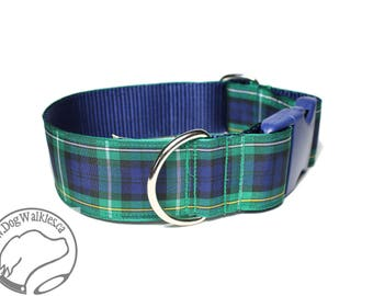"Campbell Clan Tartan Dog Collar - 1.5"" (38mm) Wide - Choice of collar style and size - Blue and Green Plaid"