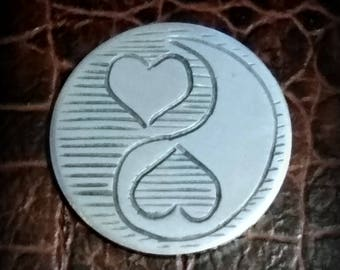 Ying yang Valentine Hand engraved Hobo nickel coin jewelry