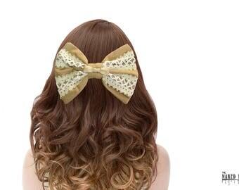 BLB4 Caramel and Cream Lattice Hair Bow Barrette