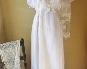 Wedding Dress with Lace Jacket, Tafredda Wedding Dress with Cascade of Floral Appliques